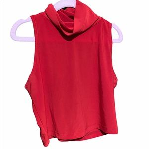 [3 for $15] Red Turtleneck Crop Top with open Back
